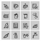Vector black cleaning icons set Royalty Free Stock Image