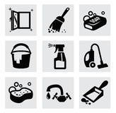 Vector black cleaning icons set on gray Royalty Free Stock Image