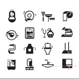 Vector black cleaning icons set on white Stock Photos