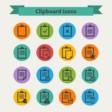 Vector black Clipboard icons set in flat style Royalty Free Stock Image