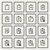 Vector black Clipboard icons set Stock Images