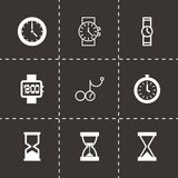 Vector black clock icon set Stock Image
