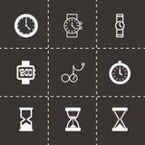 Vector black clock icon set. On black background Stock Image