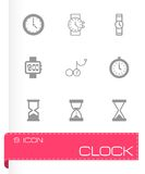 Vector black clock icon set Stock Photo