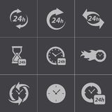 Vector black clock icons set Stock Images