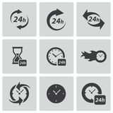 Vector black clock icons set Stock Photo