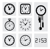 Vector black clocks icons Royalty Free Stock Photo