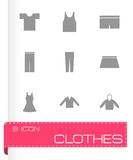 Vector black clothes eyes icons set Royalty Free Stock Images