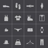 Vector black  clothes  icons set Royalty Free Stock Photos