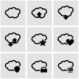 Vector black cloud icon set Stock Photos
