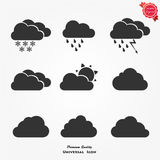 Vector black cloud icons set. Cloud computing icon set, each icon is a single object compound path , vector eps10 Royalty Free Stock Photos