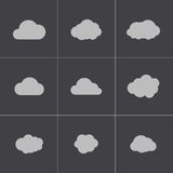 Vector black cloud icons set Royalty Free Stock Image