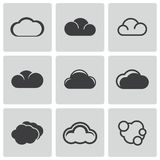 Vector black cloud icons set Stock Images