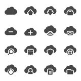 Vector black cloud icons set Royalty Free Stock Photography
