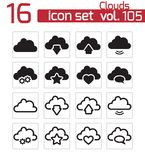 Vector black  clouds  icons Stock Image
