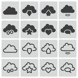 Vector black  clouds  icons Royalty Free Stock Images
