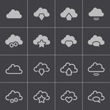 Vector black  clouds  icons set Royalty Free Stock Photos