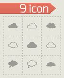 Vector black clouds  icons set Stock Photography