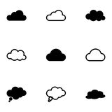 Vector black clouds  icons set Royalty Free Stock Photo