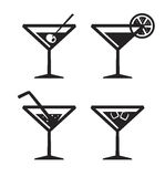 Vector black cocktail icon Royalty Free Stock Photography
