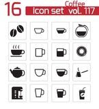 Vector black  coffe   icons Royalty Free Stock Images