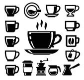Vector black coffee icons Stock Image