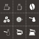 Vector black coffee  icons set. On black background Stock Photos