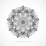 Vector Black Color Mandala over white Stock Photography
