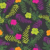 Vector black and colourful tropical plants seamless pattern background. Perfect for fabric, scrapbooking, wallpaper projects stock illustration
