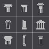 Vector black column icons set Royalty Free Stock Image