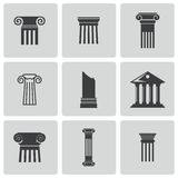 Vector black column icons set Royalty Free Stock Photos