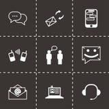 Vector black communication icons set. On black background Royalty Free Stock Photo