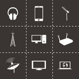 Vector black communication icons set Royalty Free Stock Photos