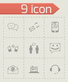 Vector black communication icons set Royalty Free Stock Photo