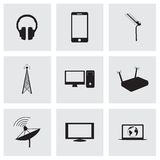 Vector black communication icons set Stock Photos