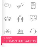 Vector black communication icons set Royalty Free Stock Photography
