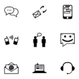 Vector black communication icons set Stock Images