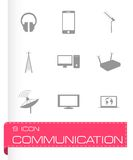 Vector black communication icons set Stock Photo