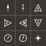 Vector black compass  icons set. On black background Royalty Free Stock Photography