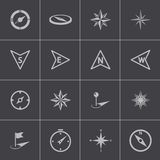 Vector black compass icons set Stock Photo