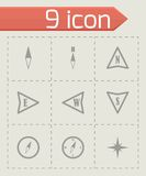 Vector black compass  icons set Royalty Free Stock Images