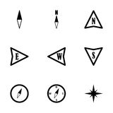 Vector black compass  icons set Stock Images