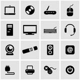 Vector black computer icon set Royalty Free Stock Images