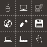 Vector black computer icons set. On black background Stock Photography