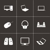 Vector black computer icons set Stock Images