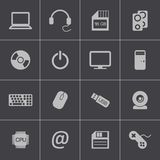 Vector black  computer icons set Royalty Free Stock Photography