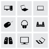 Vector black computer icons set Royalty Free Stock Photos