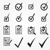 Vector black confirm icons set. Universal vector icons Royalty Free Stock Photos