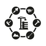 Vector black construction icon set Stock Photo
