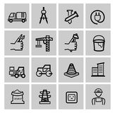 Vector black construction icons set Royalty Free Stock Image